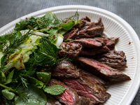 Grilled Skirt Steak with Herb Salad