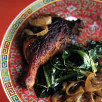 Braised Duck Legs with Mustard Greens and Bok Choy
