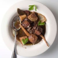 Lamb Stewed with Parsnip, Bacon, Fennel, and Red Wine