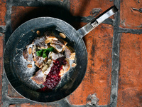 Brown Butter Skillet Cake with Berry Compote (Kaiserschmarrn)