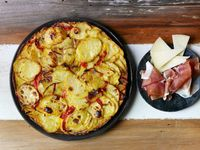 Basque Potato and Pepper Tortilla with Ham and Cheese