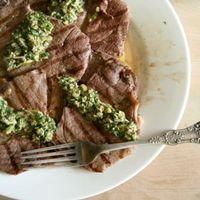 Grilled Steak with Sauce Vierge