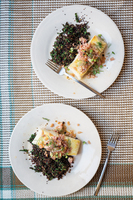 Grouper in Crab Sauce with Black Quinoa and Pickled Fennel