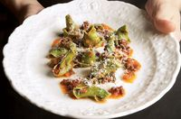 Spinach Cappellacci with Goat Ragù and Broccoli Rabe