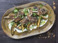 Grilled Lamb Chops and Squash with Herb Salad and Sunchokes