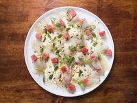 Cured Fluke with Yogurt, Watermelon, Sunflower Seeds, and Togarashi