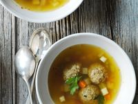 Beef Broth with Liver Dumplings and Saffron
