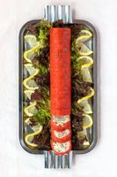 Roulade de Saumon aux Crabes des Neiges  (Smoked Salmon Stuffed with Cottage Cheese and Crab)