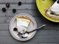 Blackberry Cream Pie with Toasted Oat and Sesame Crumb Crust