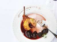 Baked Pears and Prunes with Red Wine Sauce (Pere Cotte con le Prugne)