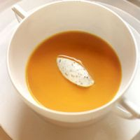 Chilled Carrot Soup with Fines Herbes Mousse
