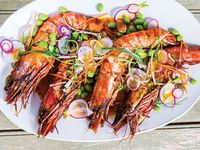 Prawns with Edamame Slaw and Carrot-Miso Sauce