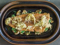 Pike-perch with Creamed Mushrooms and Horseradish Butter