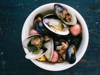 Clams and Mussels with Spicy Pork Sausage Broth