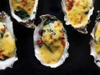 Broiled Oysters with Spinach and Brown Butter Hollandaise