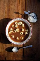 Beef Broth with Tortellini and Parmesan (Brodo )